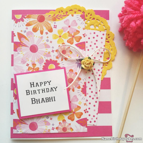Birthday Card With Name.I Have Written Bhabhi Name On Cakes And Wishes On This