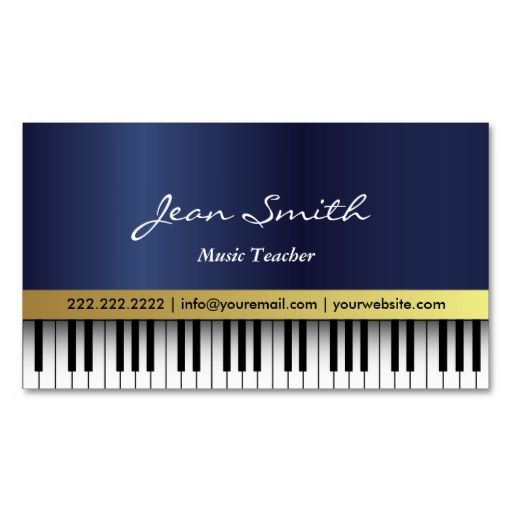 Music teacher royal blue piano keys elegant business card teacher dark blue piano music teacher business card make your own business card with this great colourmoves