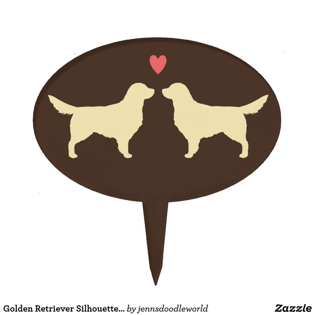 Golden retriever silhouettes with heart cake topper wedding cake