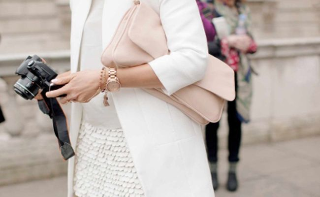 12 Options:: Wearing white after Labor Day: These different textures and slight variations of white blend nicely to make an interesting and chic outfit. I'm imagining grey or beige heels pulling the look together.