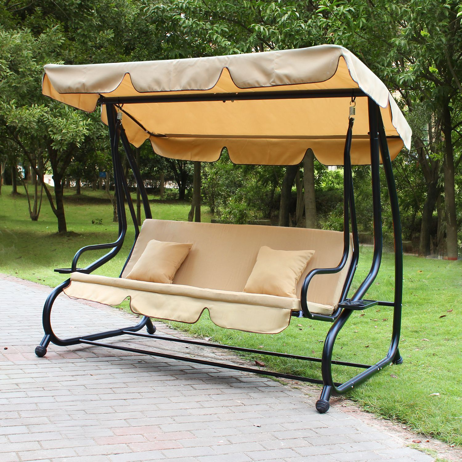 Simple Stylish Outdoor Swing Couch Seats Three