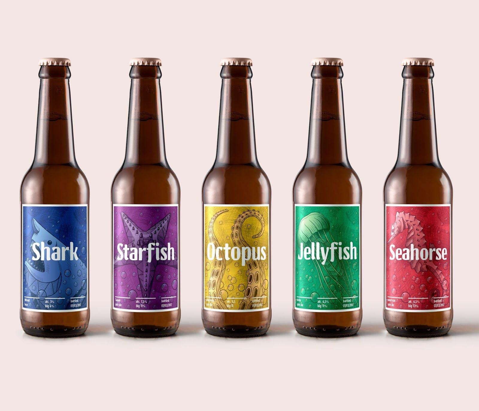 Sea Beer Labels Student Project Pivnye Etiketki Dizajn