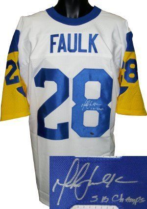 on sale 3581c b6042 Marshall Faulk signed St. Louis Rams White TB Prostyle ...