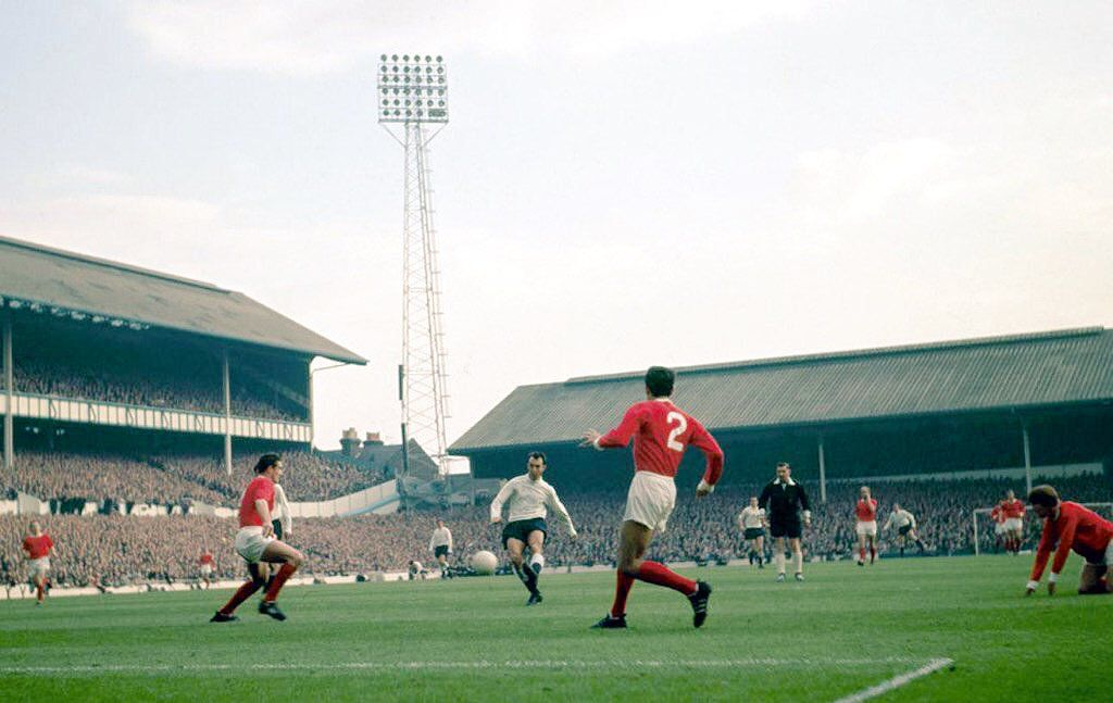 1965 Jimmy Greaves shoots and scores against Manchester United. Spurs went on to win the match 5-1