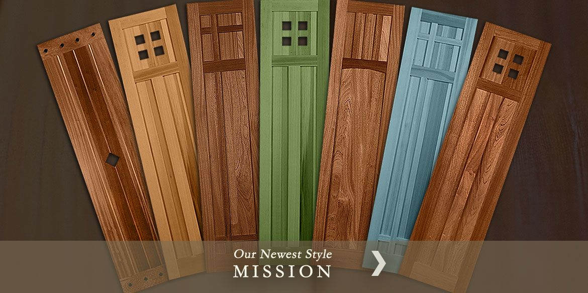 New mission style exterior shutters from timberlane pays homage to the traditional architectural for Arts and crafts exterior shutters