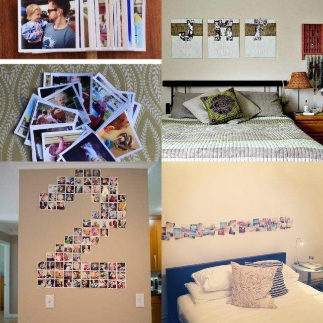 fotocollage-selber-machen-ideen-schlafzimmer-bett-quadratisch - dekoration schlafzimmer selber machen