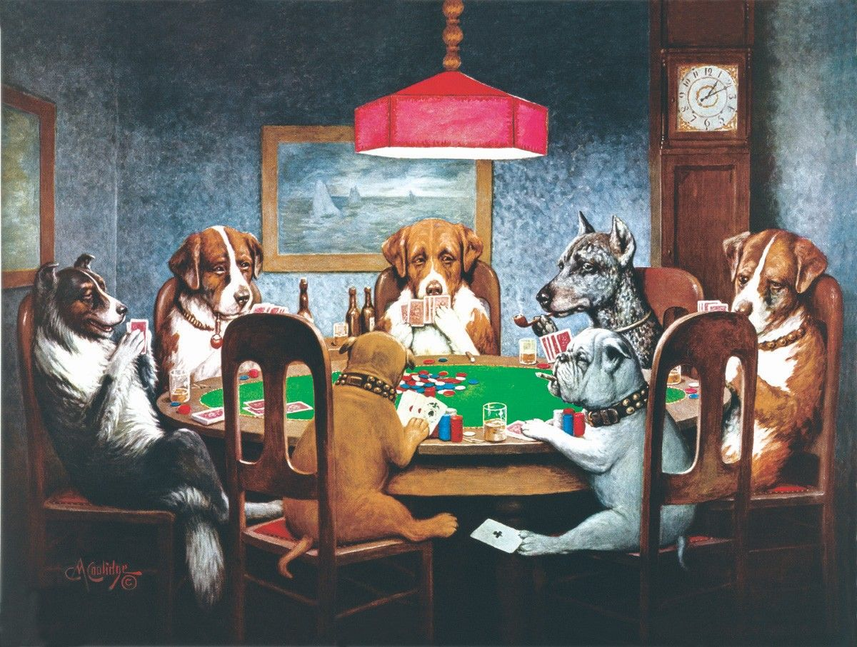 DOGS PLAYING POKER CLASSIC CANVAS PICTURE PRINT WALL HANGING ART HOME DECOR