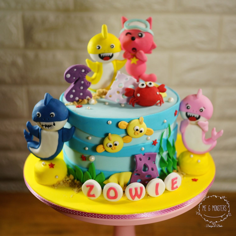 Baby shark theme cake Shark birthday cakes, Shark themed