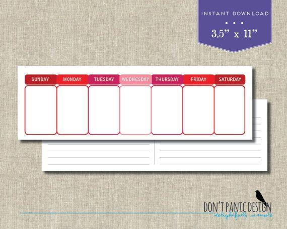 Printable Perpetual Weekly Calendar - Simple Modern Red Daily - Daily Calendar Printable