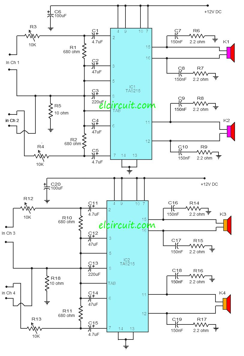 hight resolution of ta8215 4 channel power amplifier circuit
