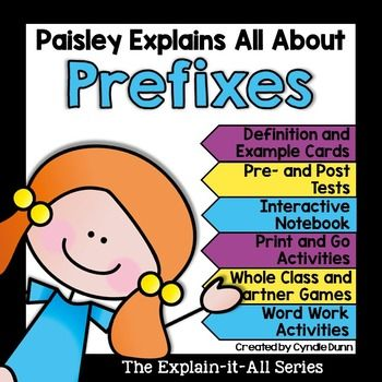 Prefixes are part of the affixes family and essential to reading foundation skills.This unit will teach your students about root and base words and pairs very well with the suffix unit. Included in this unit you will find:Syllable Definition CardSyllable Example and Definition Cards Prefix Flip Flap FunBlank Prefix, Root/Base Word, Definition Flip Flap FunPrefix Task CardsPair It CardsWords With Prefixes Definition Fortune TellerCreate Your Own Blank Fortune TellerI Have/Who Has?