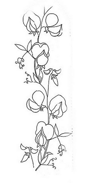 Vintage Embroidery Pattern Sweet Peas Flowers Pinterest