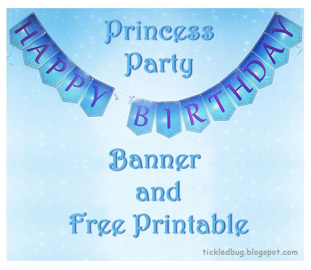 tickled by the creative bug princess party happy birthday banner and free printable