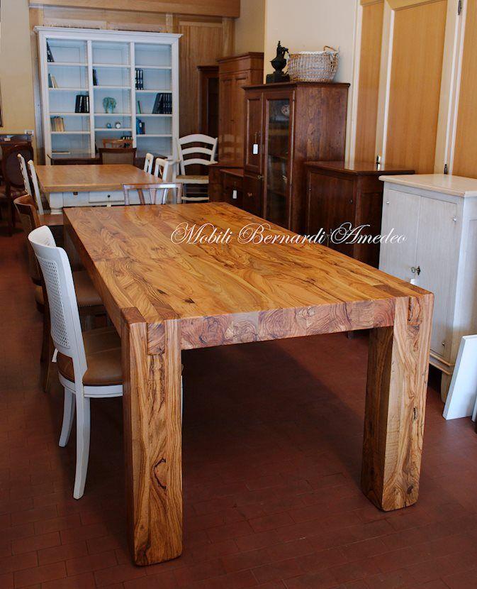 Solid olive wood table square legs clean design nel for Mobili italiani design