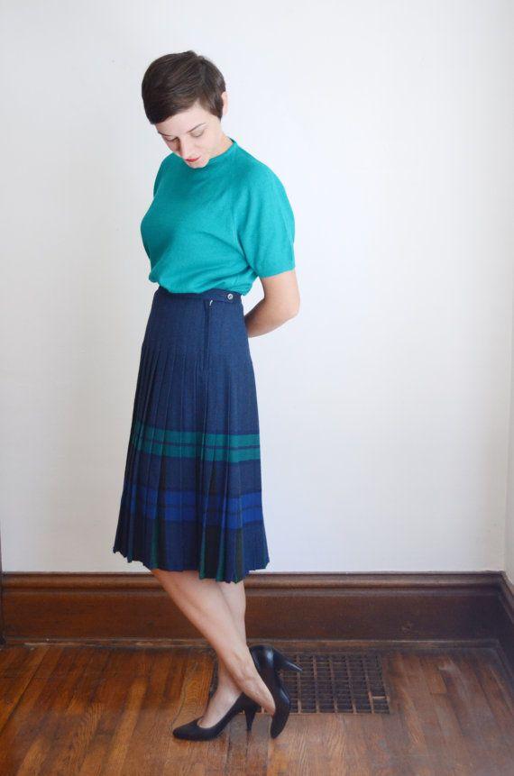 307cc9e3c 1950s Pendleton Turnabout Skirt / Reversible Skirt / Pleated Wool ...