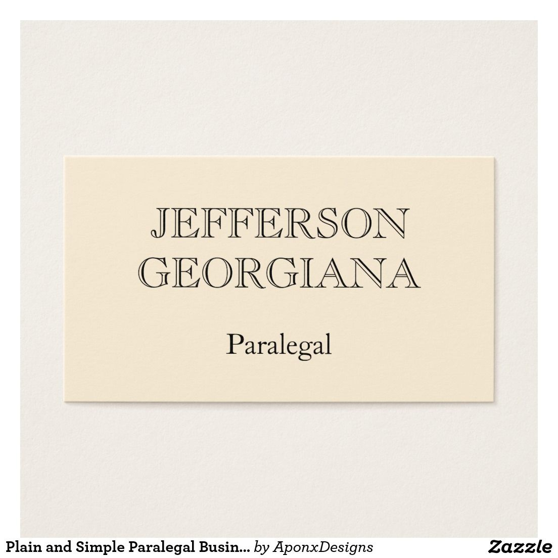 Plain and Simple Paralegal Business Card | Paralegal, Business cards ...