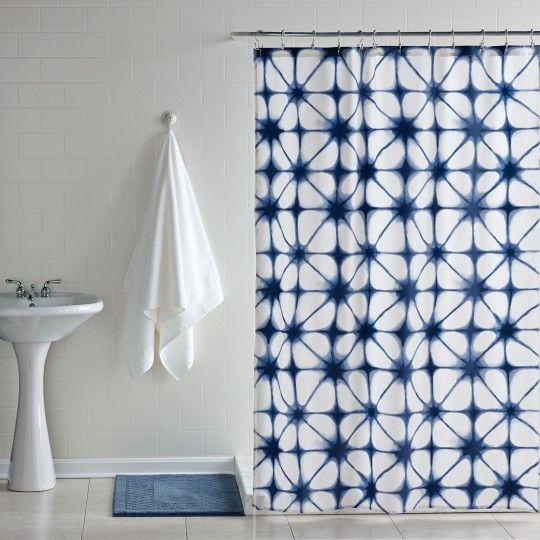Indigo Tie Dye Shower Curtain Navy Blue Shower Curtain Cool
