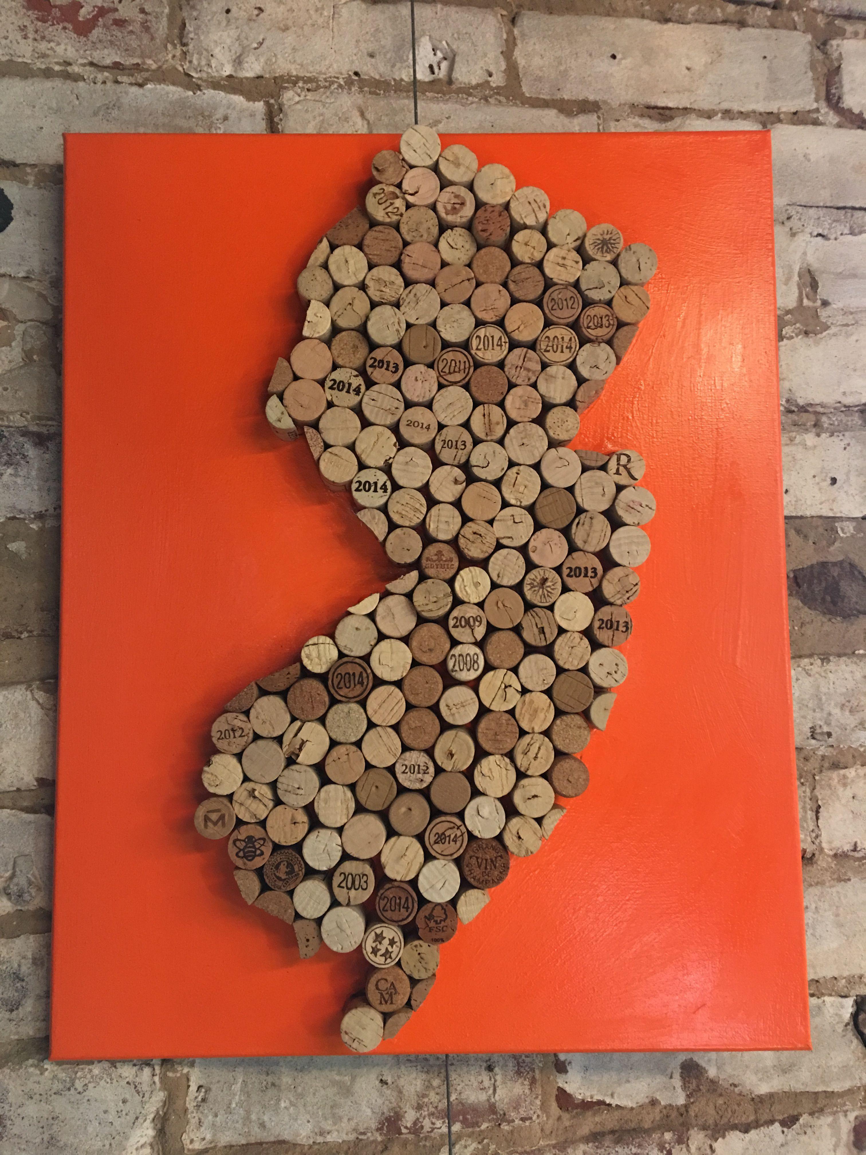 Wine Cork Artwork New Jersey Nj On Canvas Custom Made By Robin Coggins Hook Wine Sinker Co Wine Cork Arts And Crafts Crafts