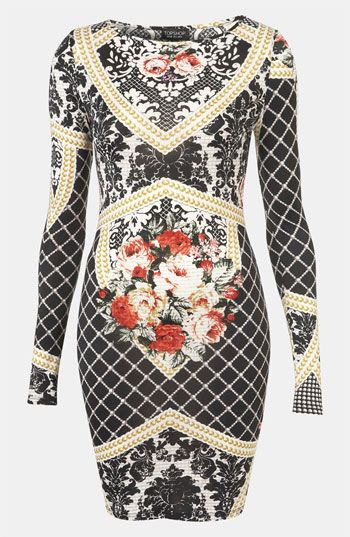 Topshop Baroque Print Bodycon Dress available at #Nordstrom