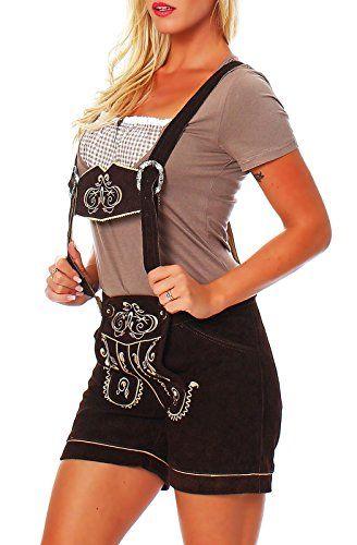 #Wiesn #Oktoberfest #Engelleiter #Damen #Trachen #Lederhose #Shorts #braun…