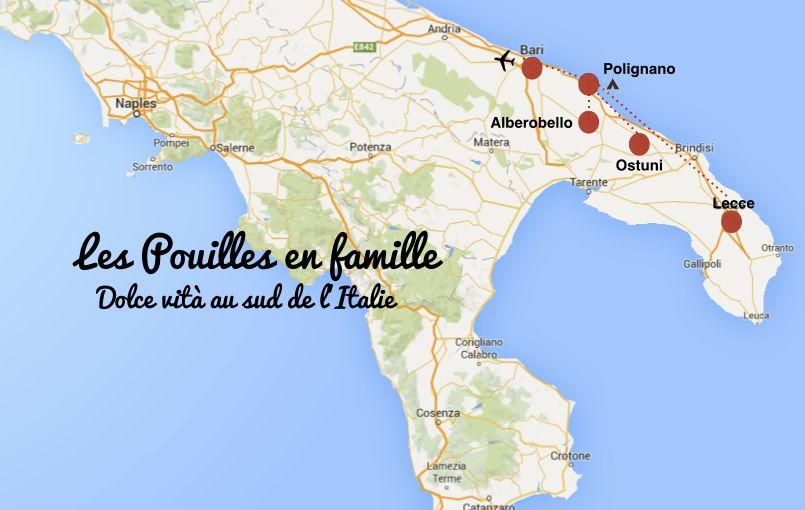 carte itineraire visiter les pouilles en famille dans l