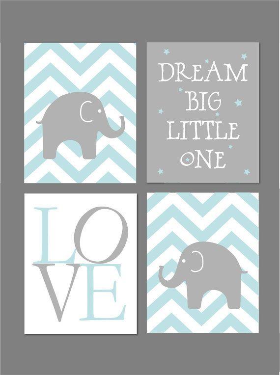 Pale Blue and Grey Nursery Elephant Nursery Dream Big ...