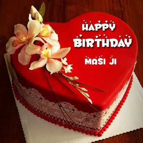 Happy Birthday Red Heart Love Cake Pic With Your Name Masi Ji