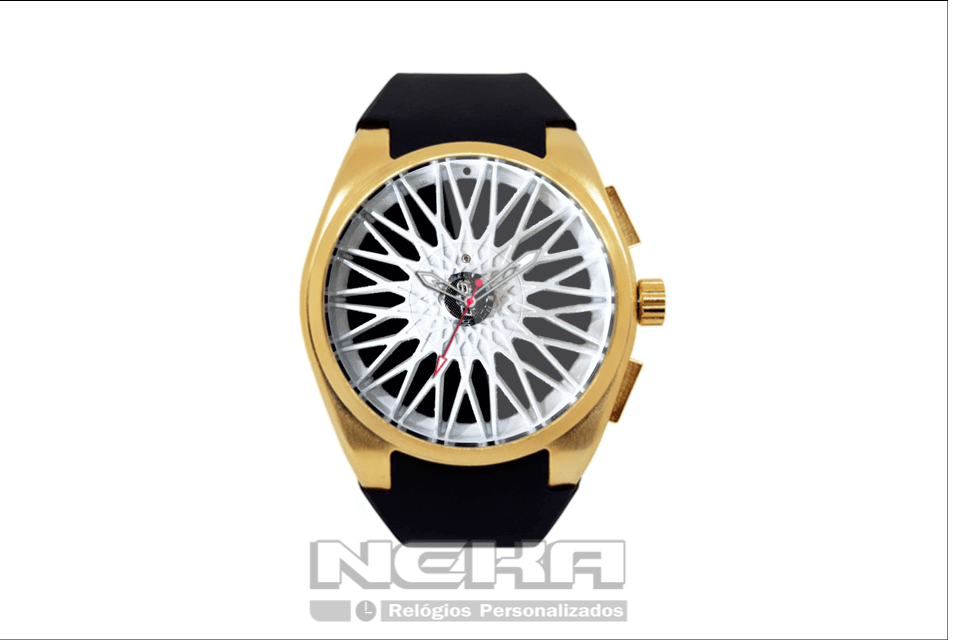 3bdd9d89881 A famosa roda vw BBS branca agora em um belissimo relógio de pulso com  caixa dourada e pulseira de borracha
