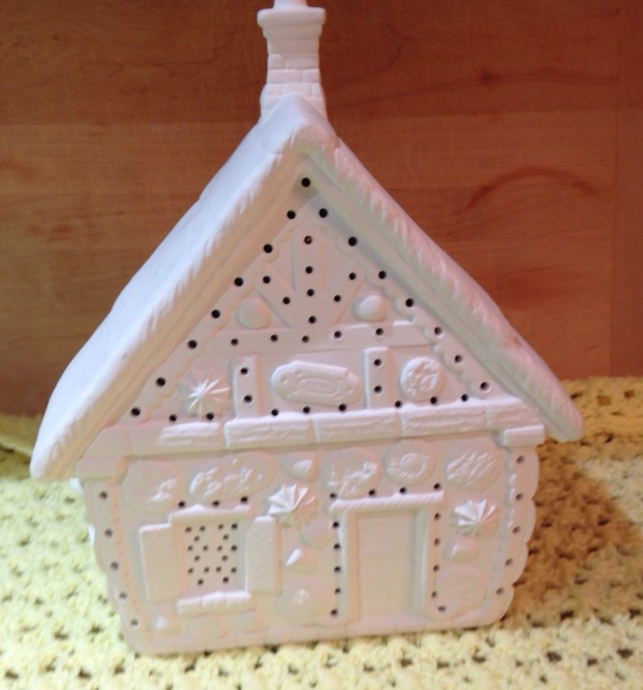 Lighted Christmas Carolers Ceramic Decoration By: CERAMIC CHRISTMAS GINGERBREAD HOUSE UNPAINTED CANDY LIGHT