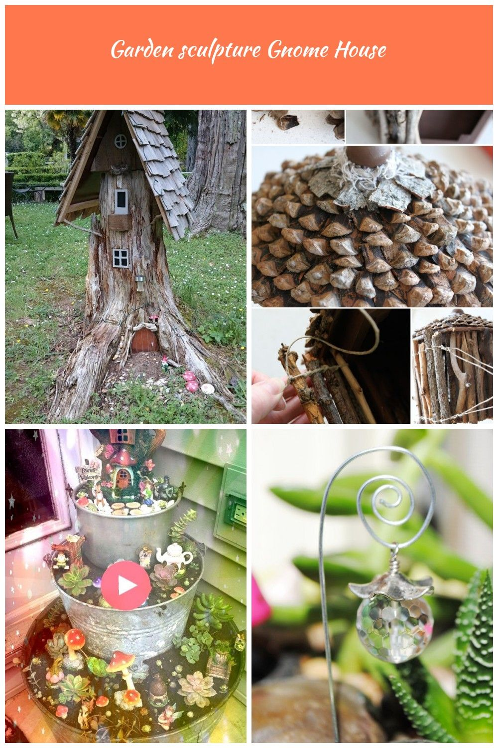 Garden sculpture Gnome house Made from old tree stump It can be always done if you have old tree stump in your garden Brings lots of fun for children This is an example g...