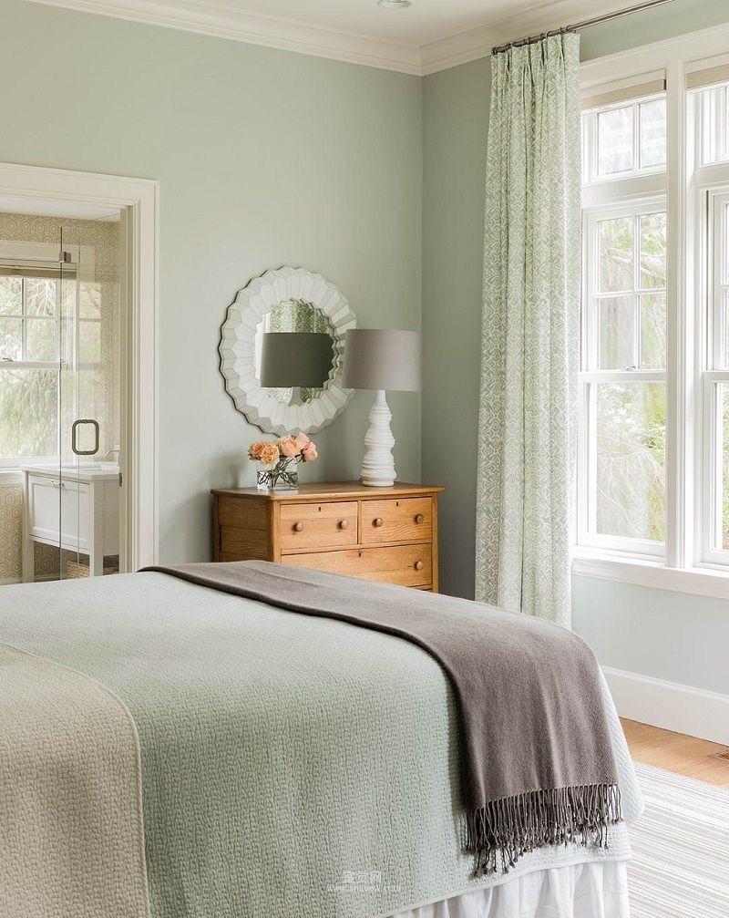 Sage Green Bedroom Curtains With Walls