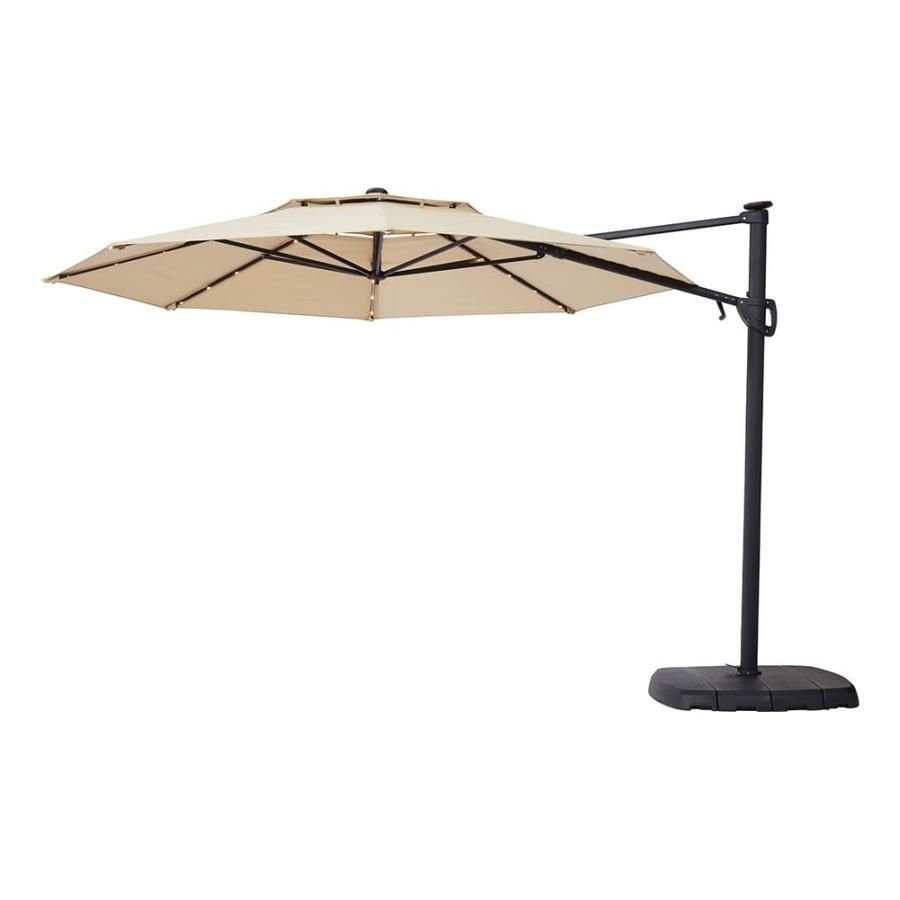Simply Shade Tan Offset Pre Lit 11 Ft Auto Tilt Octagon Patio Umbrella With Black Aluminum Frame And Base Lowes Com Patio Umbrella Patio Outdoor Sun Shade
