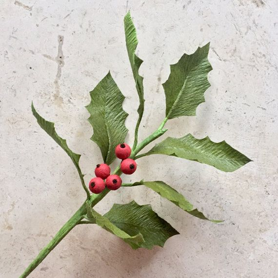 Crepe Paper Holly and Berries, Single Stem - Holiday Greenery