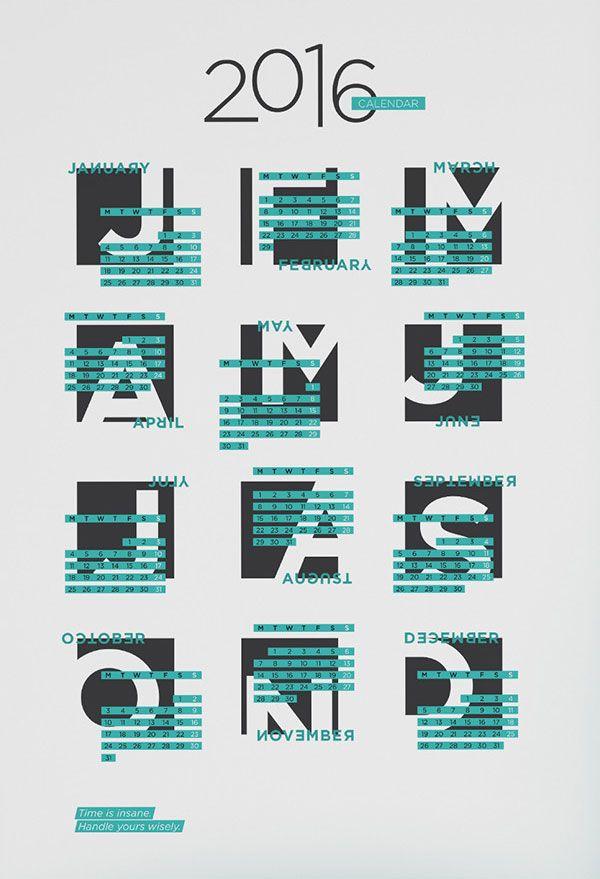 Calendar Typography S : Typography calendar … koledar pinterest