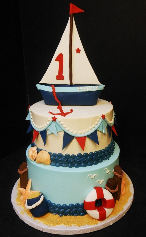 Outstanding 1St Birthday Cake Sailboat Nautical Birthday Cakes Sailboat Personalised Birthday Cards Veneteletsinfo