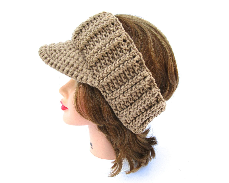 Tan Sun Visor - Women\'s Visor Head Wrap - Brimmed Ear Warmer ...