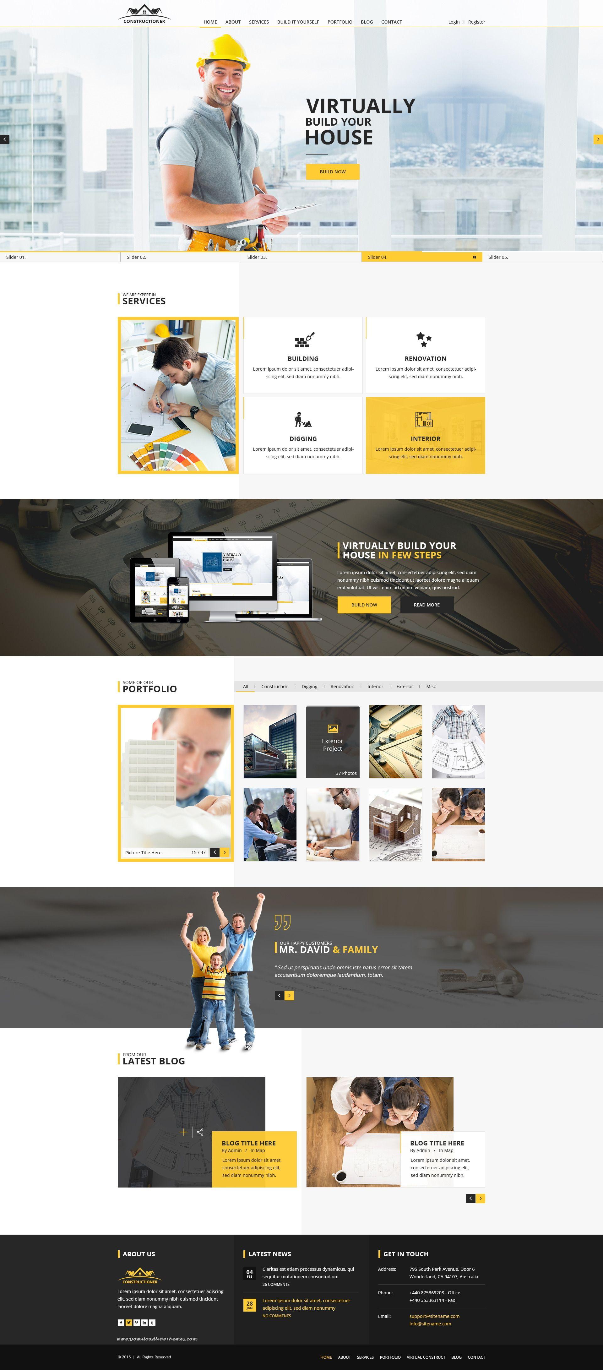 Constructioner - Modern Construction PSD Template | Diseños de ...