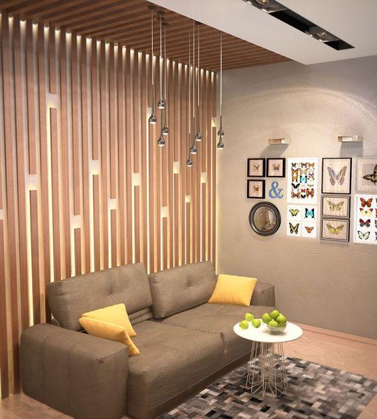 Интерьер жилого дома Галерея 3dddru: Деревянные панели на стене и потолке в гостиной