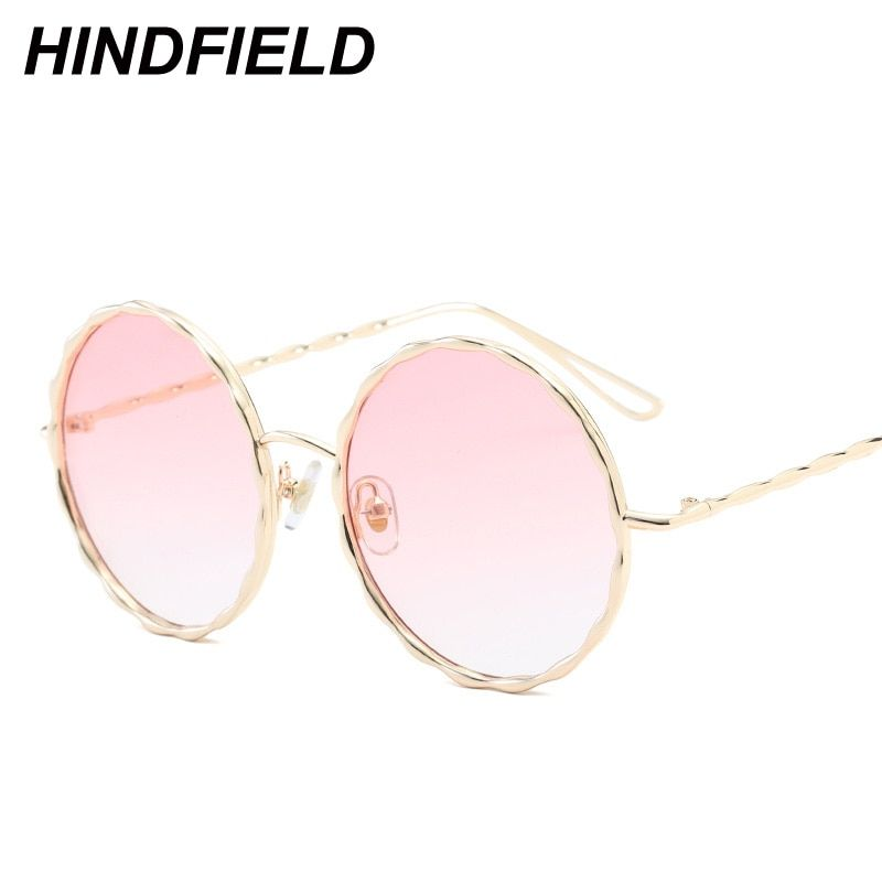 f71de4ade9f Big Round Sunglasses Women Pink Transparent Eyewear See Through Goggles  Ladies Luxury Alloy Legs Clear Shades Candy Color Oculos