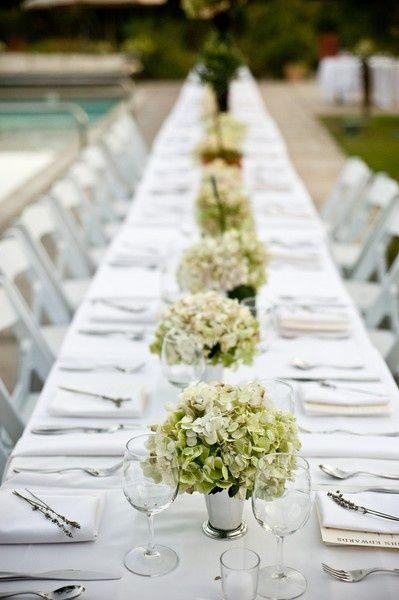 Hydrangeas wedding table decor pool side add yellow for an for Summer wedding decoration ideas