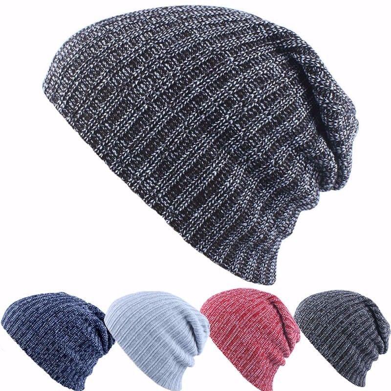 8ac80ddcb10 Unisex Women Men Baggy Beanie Knit Crochet Oversized Warm Winter Hat Slouch  Cap  Unbranded  Beanie