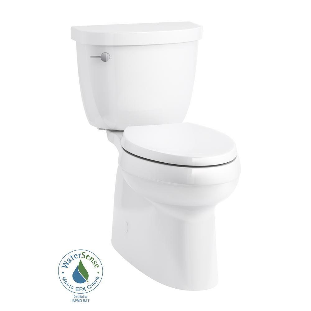 Kohler Cimarron Comfort Height 2 Piece 1 28 Gpf Single Flush Elongated Toilet In White K 5310 0 Toilet Kohler Cimarron Toilet Design