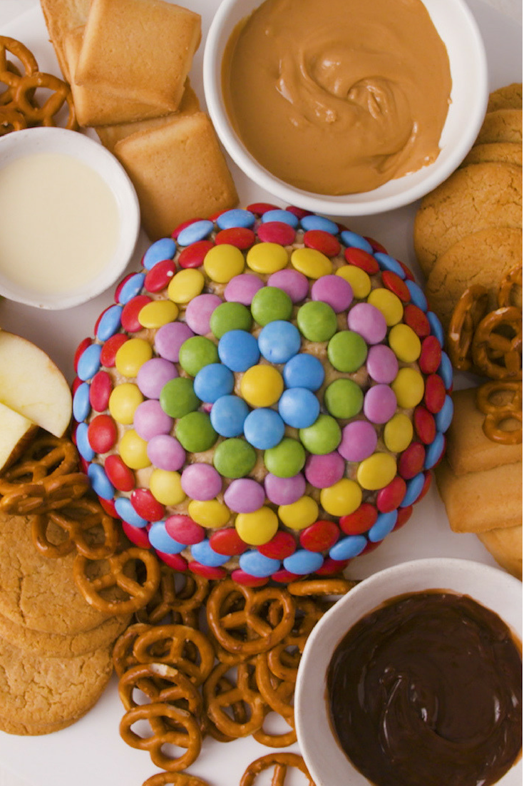 Need a dessert dip recipe? Here it is  This Smarties studded