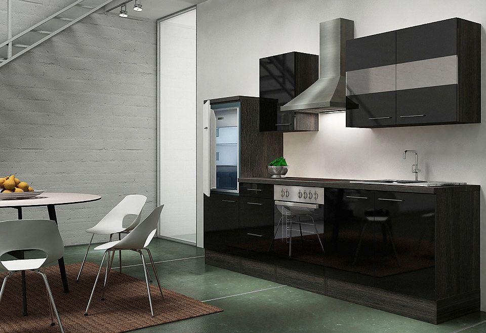 Küchenzeile mit E-Geräten »Emily«, Breite 270 cm, Korpus Eiche - küchenzeile 220 cm mit elektrogeräten
