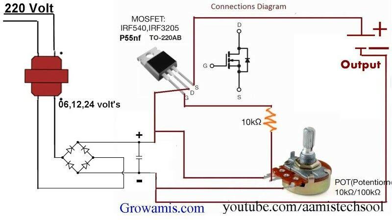 Component 0 12 0 16 Volt Tranformer 4 Diode 1 25v 1000 Uf Capacitor 1 P55nf Mosfet 1 10k Resistor 1 50k Potentiometer