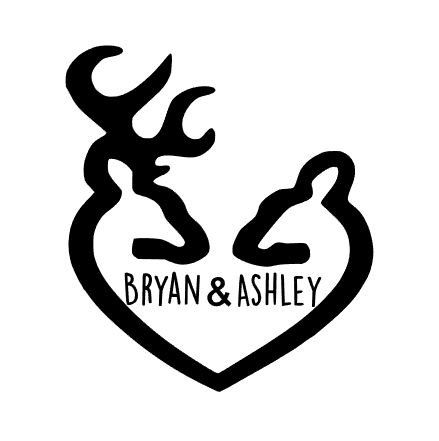 Deer heart vinyl decal custom car decal personalized country heart country couple