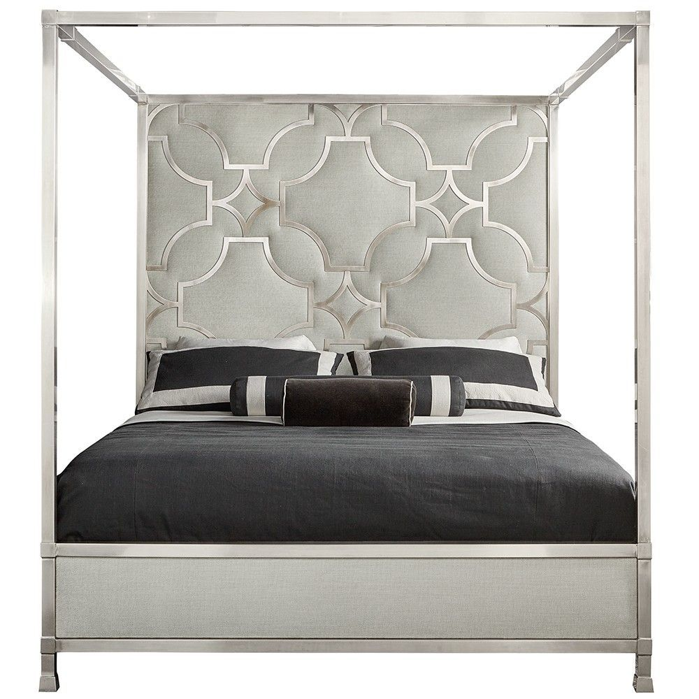 Domaine Blanc Stainless Steel & Upholstered Canopy Bed In