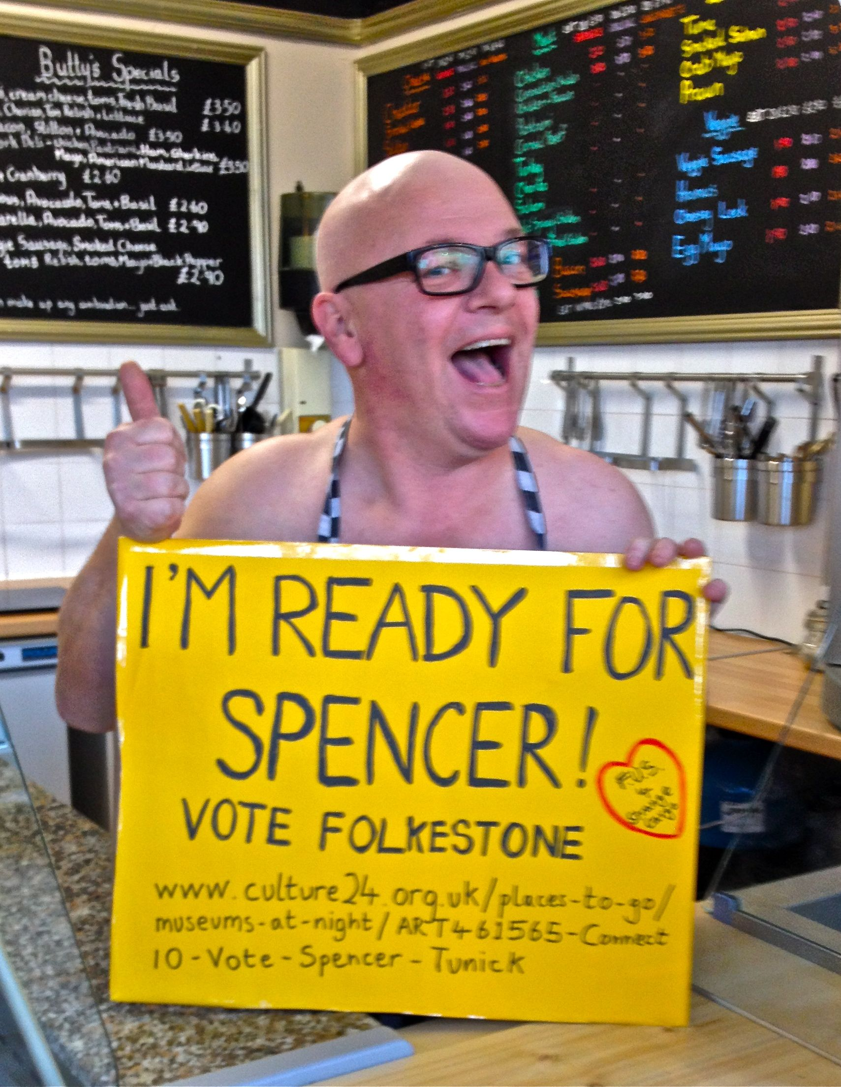 Buttys of Folkestone are 'Ready for Spencer'  #votefolkestone  http://www.culture24.org.uk//places-to-go/museums-at-night/ART461565-Connect10-Vote-Spencer-Tunick