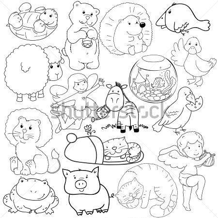 Conjunto Grande DE Contornos DE Animales Para Colorear imágenes ...