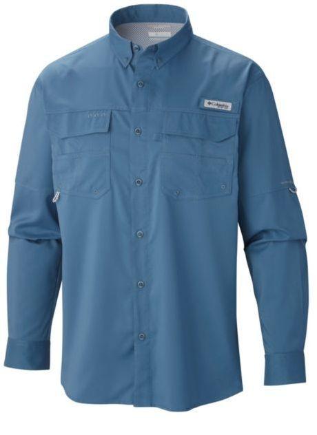 Columbia PFG Mens 2XL Bonehead Green Roll Up Long Sleeve Fishing Shirt